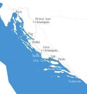 Karte unserer Camping-Rundreise durch Kroatien, inklusive Inselhopping und der wunderschönen Stadt Dubrovnik! www.diefernwehfamilie.de