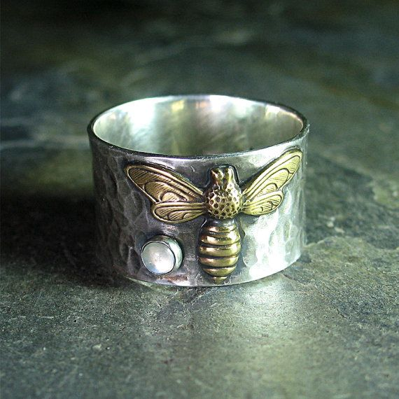 Bee Ring Gemstone Sterling Silver Honeybee nature jewelry insect - Bee's Treasure