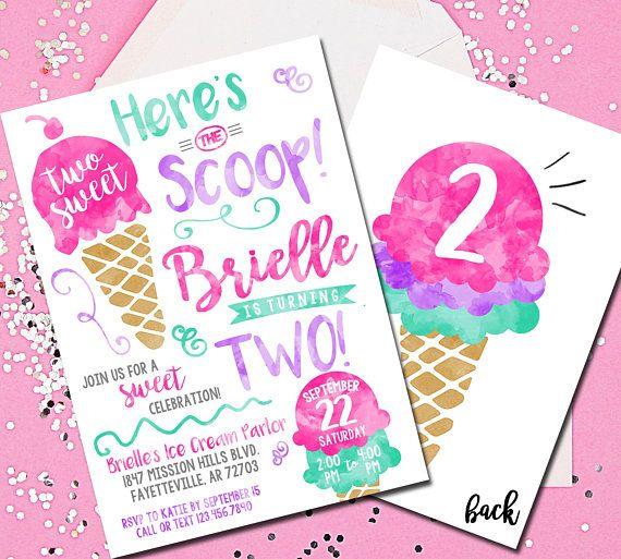 Eiscreme-Einladung, hier ist die Schaufel-Einladung, Eiscreme-Partei, zwei S …   – Karlee's 2nd birthday