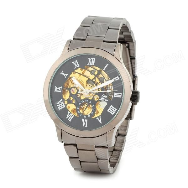 Color: Black + Gold; Quantity: 1 Set; Shade Of Color: Black; Casing Material: Zinc alloy; Wristband Material: Tungsten steel; Suitable for: Adults; Gender: Men; Style: Wrist Watch; Type: Fashion watches; Display: Analog; Movement: Mechanical; Display Format: 12 hour format; Dial Diameter: 3.5 cm; Dial Thickness: 1 cm; Wristband Length: 22 cm; Band Width: 1.8 cm; Battery: N/A; Packing List: 1 x Wrist watch; http://j.mp/VIKjyQ