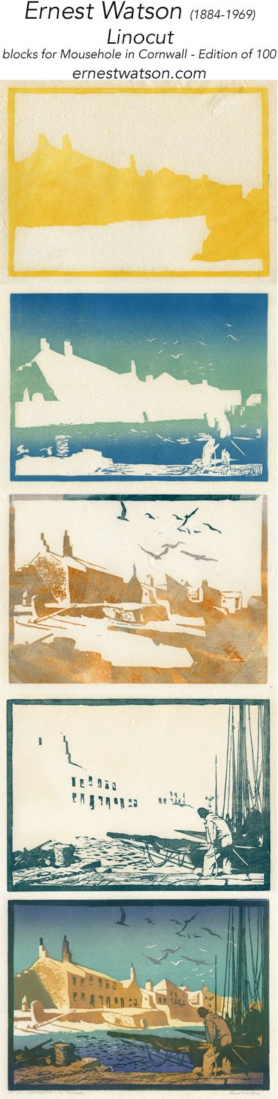 Linocut Stages: multi color  multi plate linocut by Ernest Watson; Mousehole in Cornwall  www.ernestwatson.com