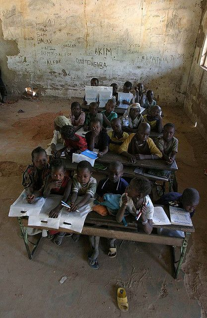 Children in a make-shift school 01 by hdptcar, via Flickr