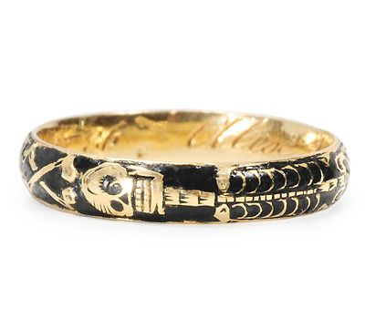 """Rare Memento Mori Skeleton Ring of 1747, 18k yellow gold and black enamel, depicting a full skeleton, tools of a grave digger, an hourglass and crossed bones. Inscribed """"Alex Burden ob 26 Sept 1748 aet 36"""