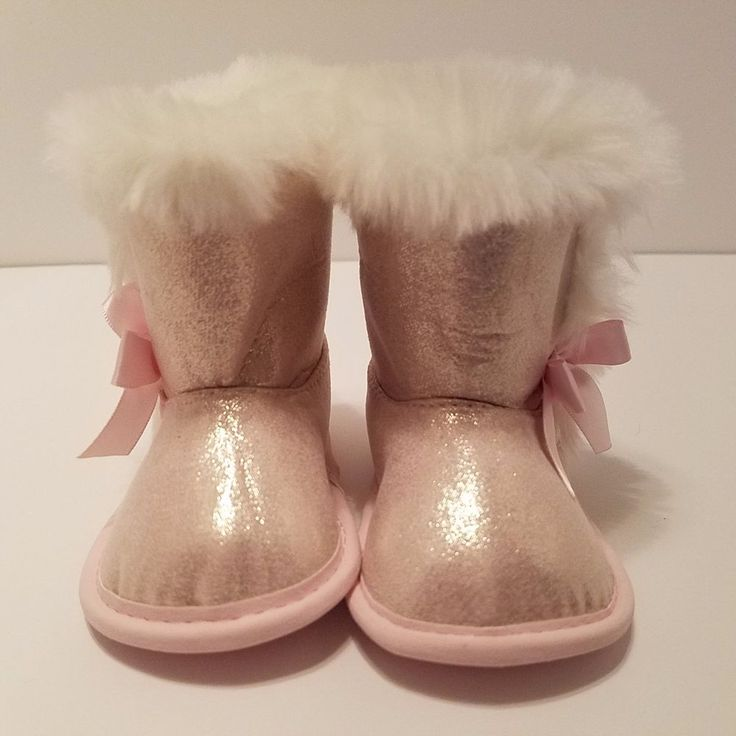 Child of mine Carters Infant Girls Size 3 - 6 Months Pink Fur Boots #ChildofminebyCarters #Boots