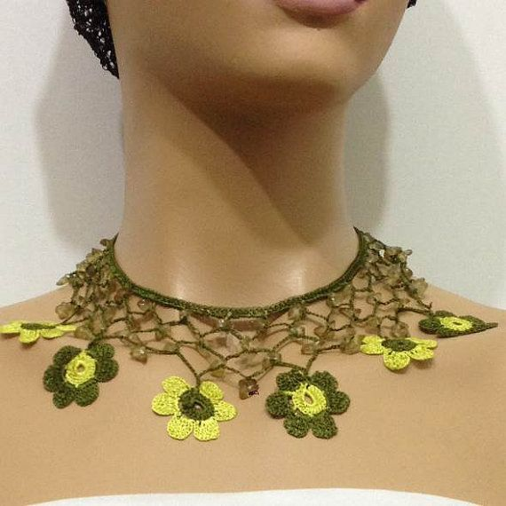 Lime  Green and Yellow Choker Necklace with by istanbuloya on Etsy