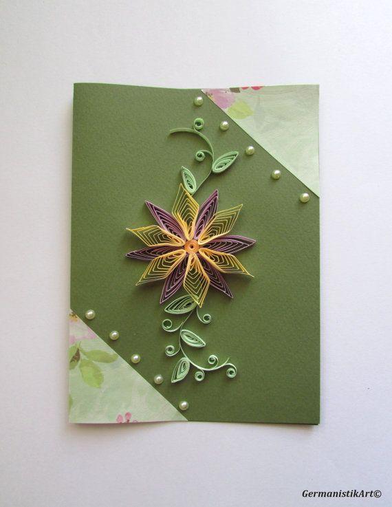 Blank Birthday Card Flower Birthday Card Paper Quilling