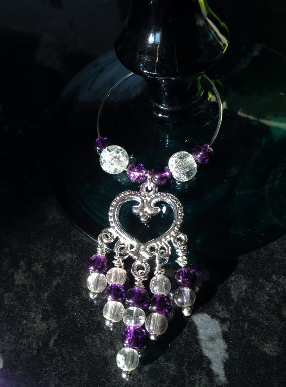 Purple Heart Beaded Wine Glass Charms  70 Dontation by LaharaArt, $20.00