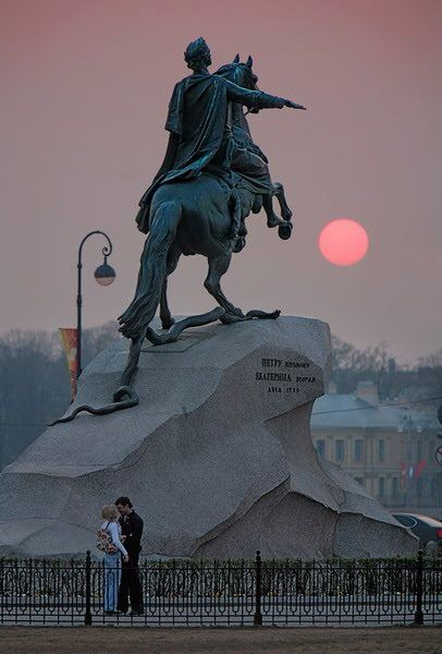 """The Bronze Horseman"" is a nickname of the monument to Peter the Great, the founder of St Petersburg, Russia."