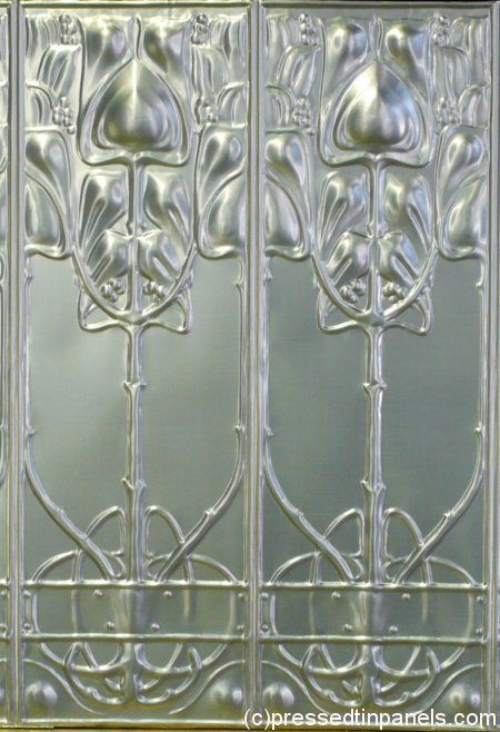 1920's Art Nouveau pressed tin panels for kitchen backsplash