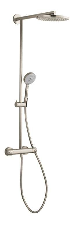 """The Cadillac system: Hansgrohe 27160821 Brushed Nickel  Raindance Shower System with 10"""" Rain Shower Head, Multi-Function Hand Shower, and 63"""" Hose"""