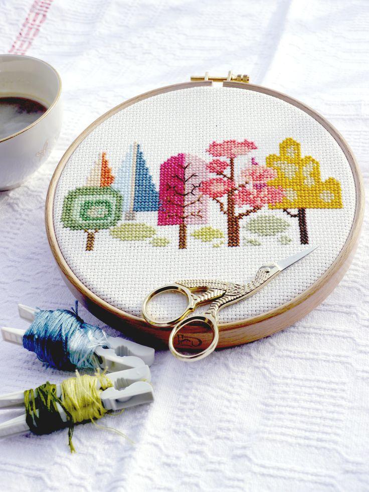 Modern forest cross-stitch motif
