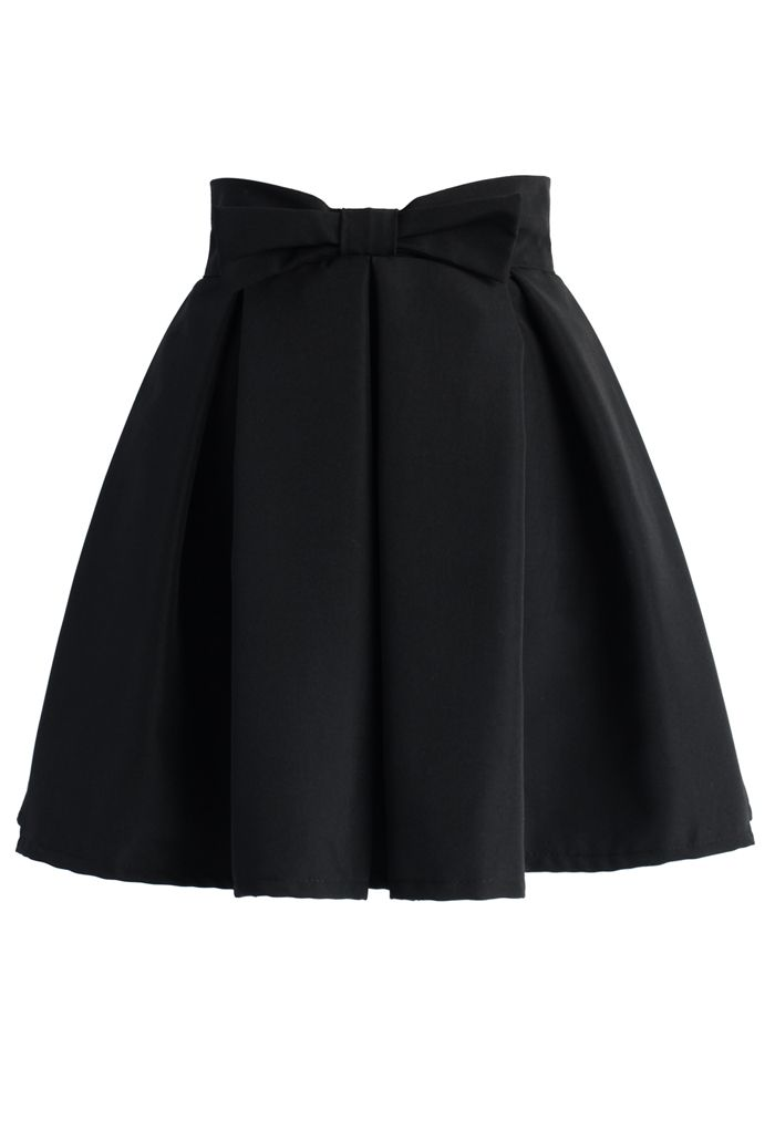 Sweet Your Heart Bowknot Pleated Skirt in Black - New Arrivals - Retro, Indie and Unique Fashion