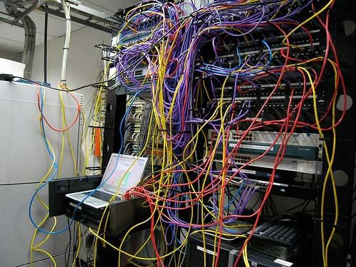 If your AV integrator ever leaves your rack looking like this bowl of spaghetti, make sure to kick 'em to the curb and call us at CCS!
