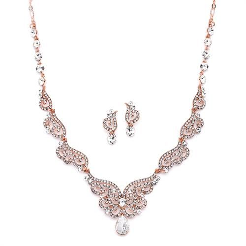 Rose Gold Art Deco Wedding Necklace Earrings Set With Crystal Scrolls Jewelry