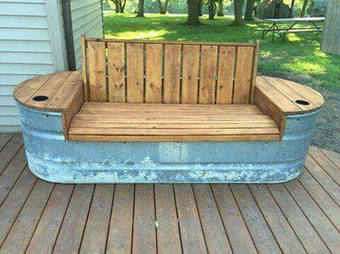 Turn a STOCK TANK into a GARDEN BENCH...Love this idea! How about you? Find stock tanks here (aff)...http://amzn.to/2dxQWBN