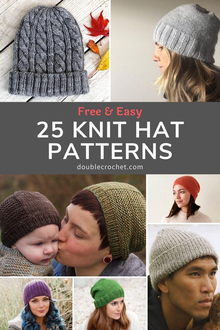25 Knitted Hat Patterns Double Crochet Hat Knitting Patterns Easy Knit Hat Knitted Hat Patterns Free Women