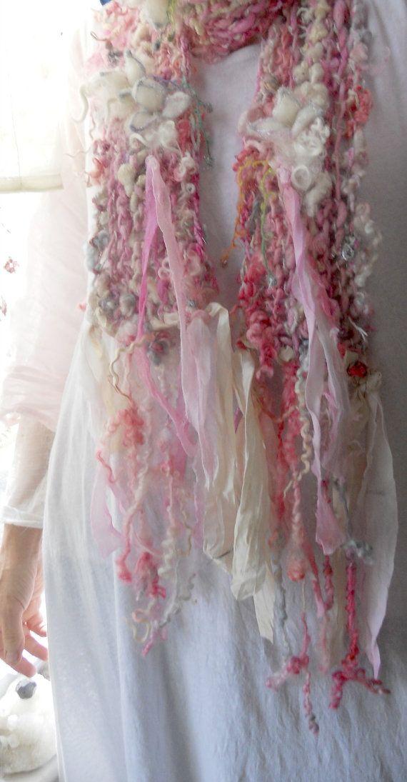 Handknit scarf soft curls alpaca wool artyarn scarf - faerie princess fantasy