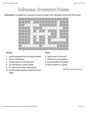 Halloween crossword puzzle that changes each time you visit.