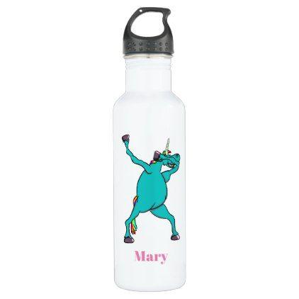 Funny Unicorn Dabbing Dance Water Bottle - horse animal horses riding freedom