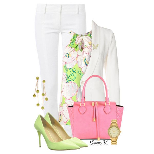 """White, Green & Pink"" by simona-risi on Polyvore"