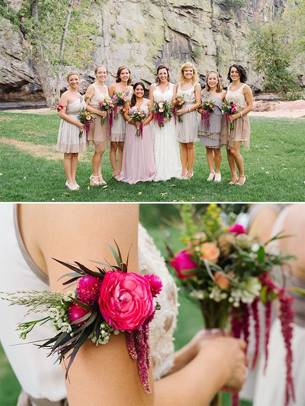 bridesmaids with floral arm bands OMG