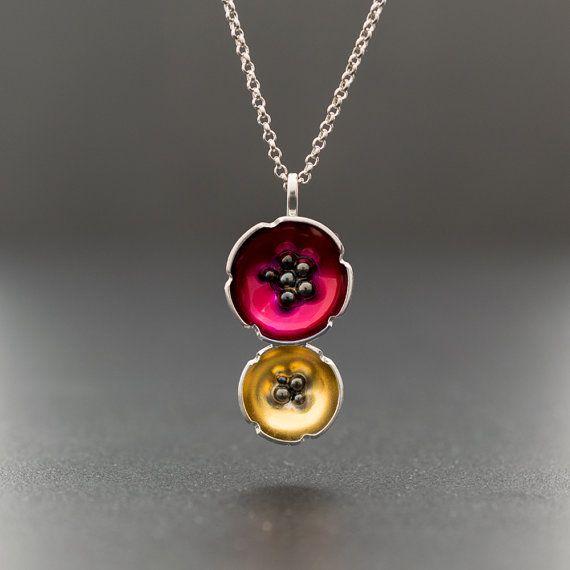 Enamel charm poppy necklace sterling silver flower by emmanuelaGR