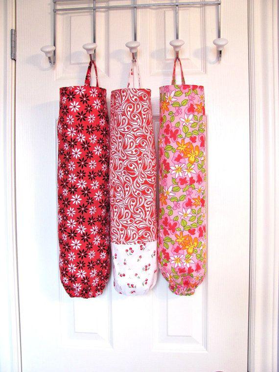 Plastic bag holder paisley fabric grocery