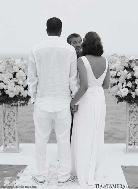 Tia Mowry renews her wedding vows with husband of 5 years Cory Hardrict during an intimate beach ceremony || Photo credit: Tia & Tamera Official