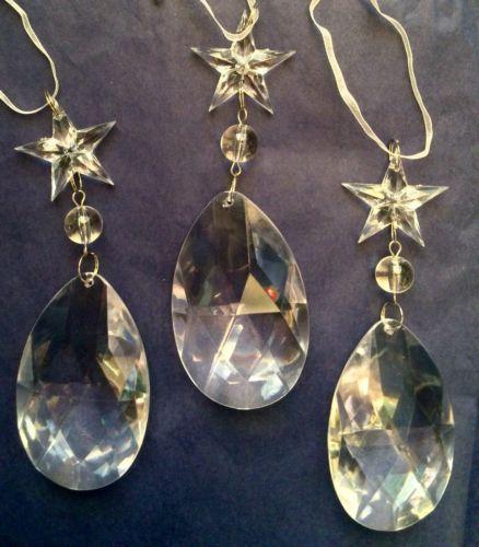 3-X-Retro-Vintage-Elegante-Arbol-De-Navidad-Decoracion-Clear-Jewel-Drop-Star