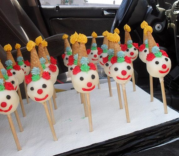 Circus Clowns cake pops by Nibblerz on Etsy
