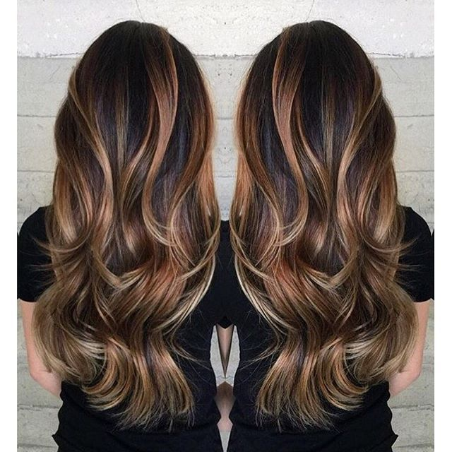 Gorgeous long brunette hair with rich blonde balayage hair color by Janai Hartt ...