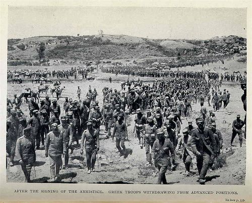 After the Signing of the Armistice. Greek Troops Withdrawing From Advanced Positions.