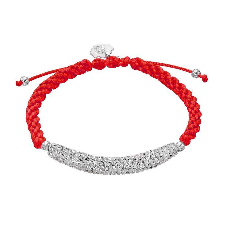 Ohio State Buckeyes Crystal Sterling Silver Bar Link & Team Logo Charm Slipknot Bracelet, Women's, White