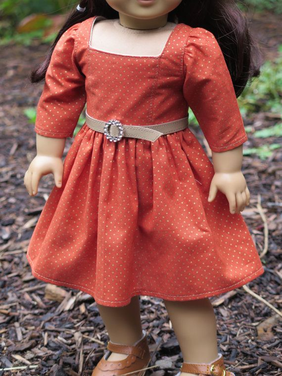 Orange polka dot dress by rainbowlilydesigns on Etsy. Made using a nodified version of the Geometry Class Dress and Jumper pattern, found at http://www.pixiefaire.com/products/geometry-class-dress-jumper-18-doll-clothes. #pixiefaire #geometryclassdressandjumper
