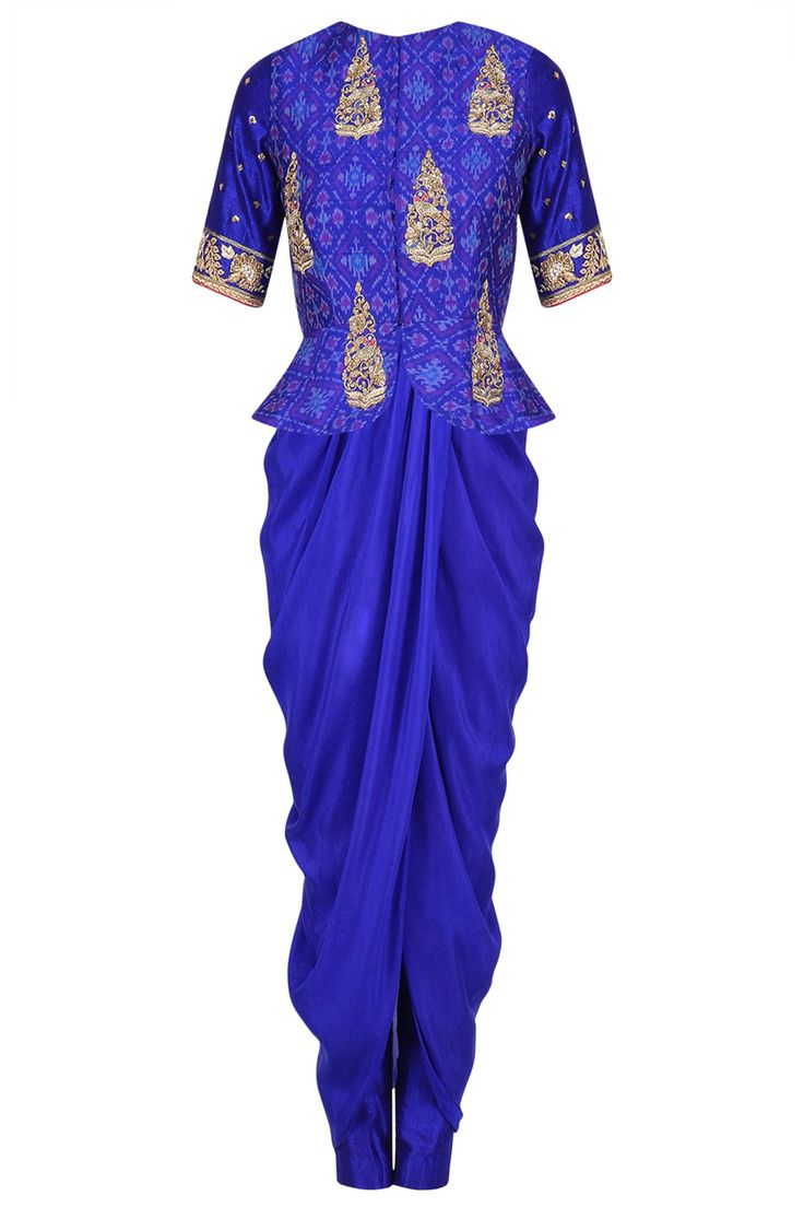 TISHA SAKSENA Blue ikat printed peplum jacket with drape kurta set available only at Pernia's Pop Up Shop.