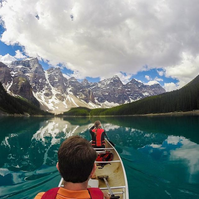 Photo of the Day! With the wind at their backs and the sun upon their faces, @anna teachey took on the #LakeLouise waters during her Canadian #Honeymoon at #BanffNationalPark. #Epic #TravelFearless #GreatOutdoors #ExploreCanada #GoPro