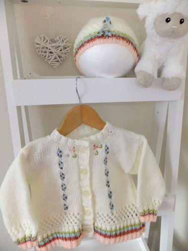 4da9a04ab6ed Hand knitted in soft acrylic baby yarn cream with a moss