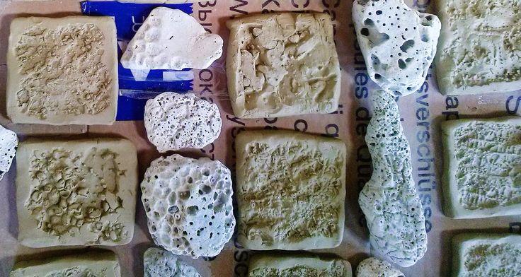 Croatian sea rock pattern on clay tiles. Made it: Zoltan Feher