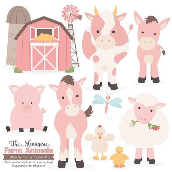 Premium Soft Pink Farm Animals Clip Art Vectors Soft Pink Etsy Animal Clipart Farm Animals Farm Birthday