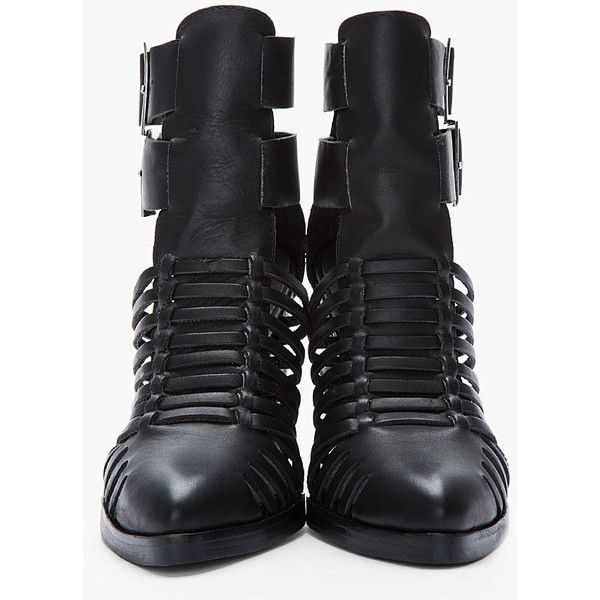 JEFFREY CAMPBELL Black Leather Cantu Cut-Out Buckle Boots - Polyvore