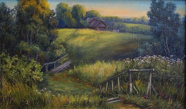 #Landscape, #sunset, #forest, #field, #village, #bridge, #pathway, #grass, #painting, #oilpainting, #artist, #Russianartist, #Russianart, #Russian, #annashurakova