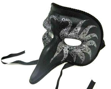 Private Island Party  - Black Zanni Style Masquerade Mask with Swan Designs 1843, $13.99   This beautiful mask works equally well as a costume accessory for an elegant masquerade or as a home decoration. This particular mask features a stunning swan motif in understated black glitter.