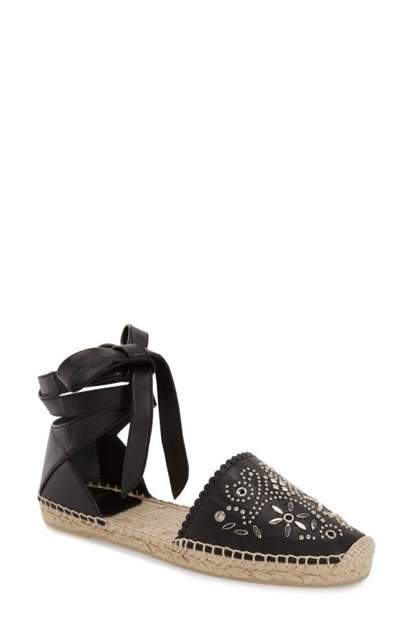 Saint Laurent Pattern Stud Espadrille Flat (Women)   Fashiondoxy.com  Description -Free shipping and returns on Saint Laurent Pattern Stud Espadrille Flat (Women) at Fashiondoxy.com. Supple leather wraparound laces secure a breezy d'Orsay espadrille embellished with intricate, flowery stud patterning at the closed toe.