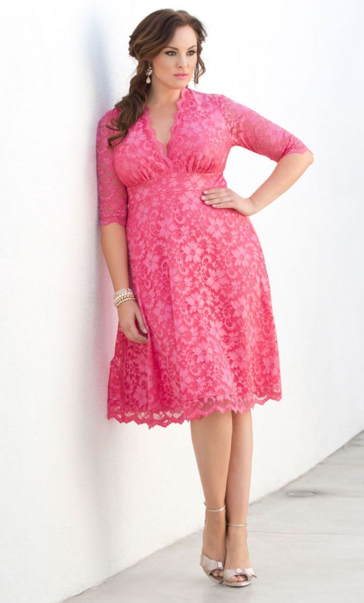Curvalicious Clothes :: Plus Size Dresses :: Mademoiselle Lace Dress - Azalea Pink
