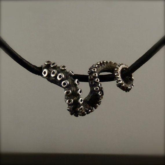 VERKOOP - OctopusME Slider hanger, tentakel hanger, Octopus Jewelry, lederen tentakel Slider, Octopus sieraden, sieraden, sterling zilver