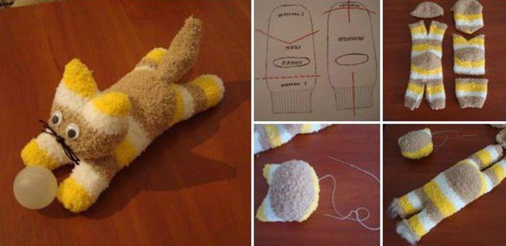 """NapadyNavody.sk   """"Urob si sám"""" mačičku z ponožiek - lacná a zábavná hračka pre vaše deti"""