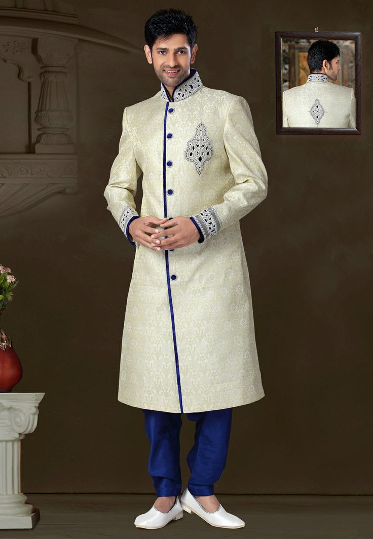 Cream Banarasi Silk Readymade Sherwani @ $304.92