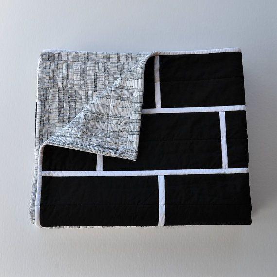 Black brick quilt: Modern minimalist monochrome by EdgeEffects