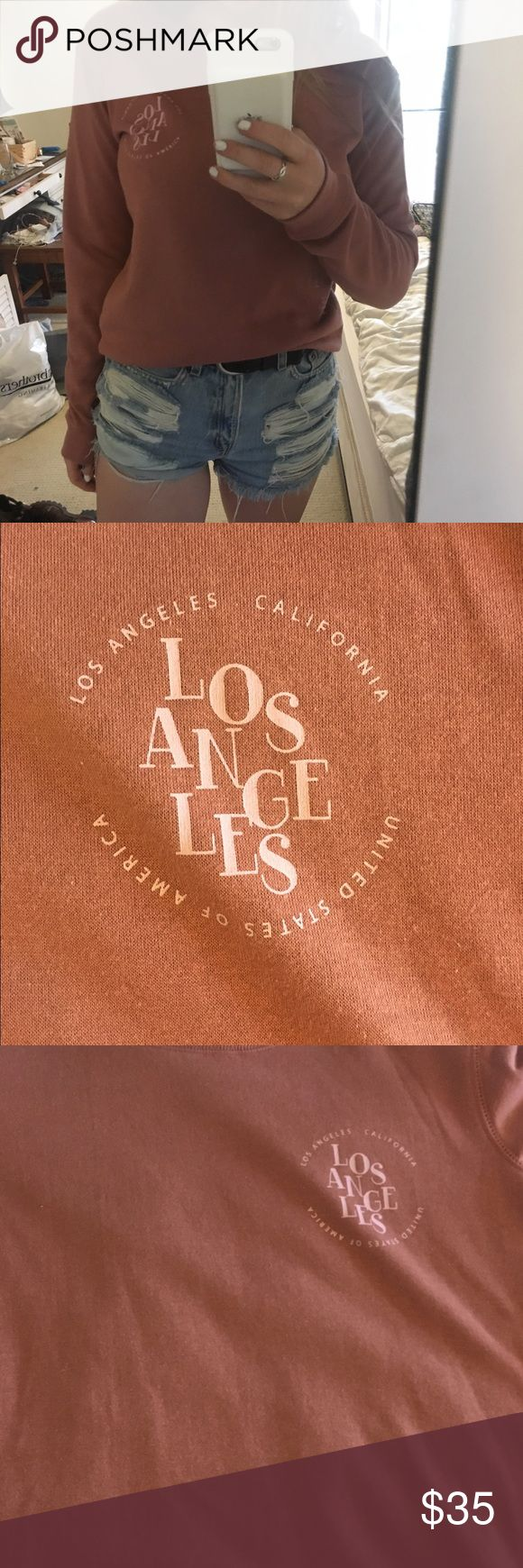 Baby pink Los Angeles Pull over sweater Super soft. Never been worn. Brandy Melville Los Angeles California Sweater. Perfect for cozy summer nights !! Brandy Melville Sweaters Crew & Scoop Necks