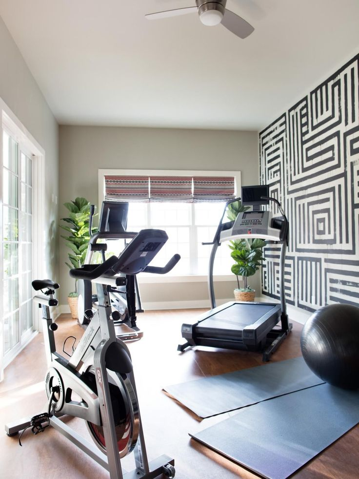 Home Gym With Houseplants And Wallpaper
